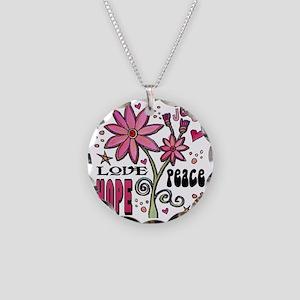 peace love joy flower Necklace Circle Charm
