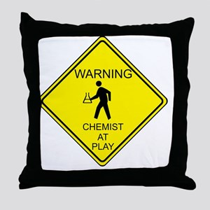 WARNING chemist at play Throw Pillow