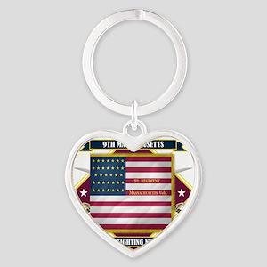 9th Massachusetts (Diamond) Heart Keychain