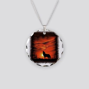Coyote Howling Necklace Circle Charm
