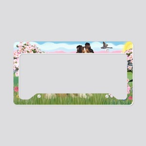 LIC-Blossoms-Sheltie7 License Plate Holder