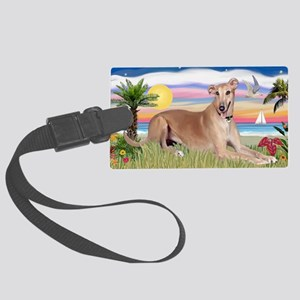LIC-Palms-Greyhound-lying down Large Luggage Tag