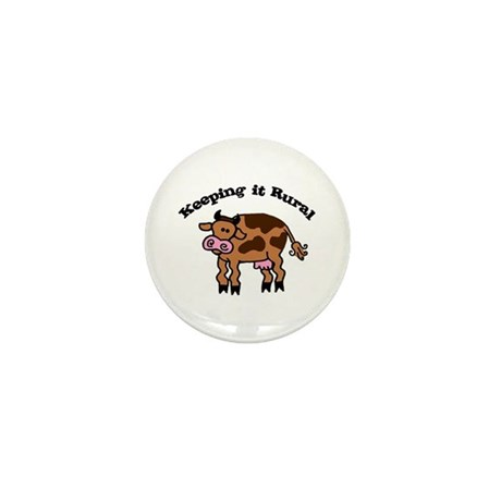 Keeping it Rural Brown Cow Mini Button
