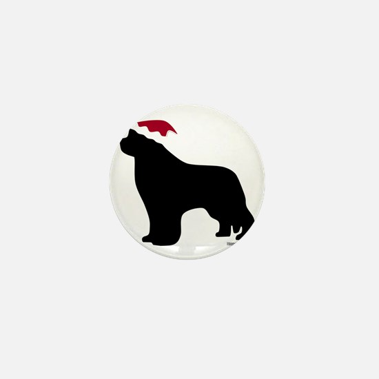 NewfSantaOnBlack Mini Button
