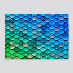 Teal Iridescent Shiny Glitter Merma 5'x7'Area Rug