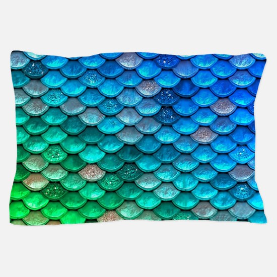 Teal Iridescent Shiny Glitter Mermaid Pillow Case