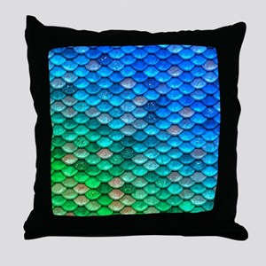 Teal Iridescent Shiny Glitter Mermaid Throw Pillow