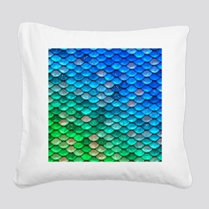 Teal Iridescent Shiny Glitter Square Canvas Pillow