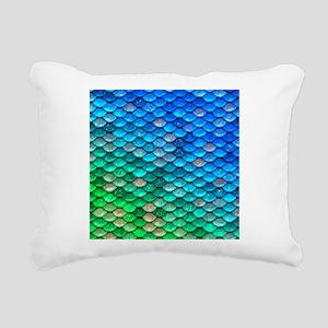 Teal Iridescent Shiny Gl Rectangular Canvas Pillow