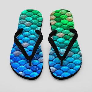 3dcff9d78294 Teal Iridescent Shiny Glitter Mermaid F Flip Flops