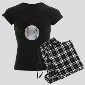 Baseball, Eat, Sleep  Breath Women's Dark Pajamas