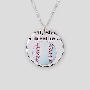 Baseball, Eat, Sleep  Breath Necklace Circle Charm