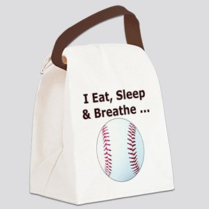 Baseball, Eat, Sleep  Breath Base Canvas Lunch Bag