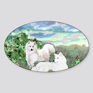 samoyed blanket Sticker (Oval)