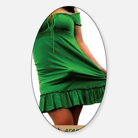 green_dress1 Sticker (Oval)