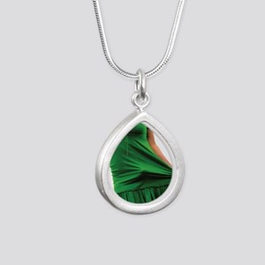 green2 Silver Teardrop Necklace