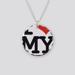 I LOVE MY BOYFRIEND Necklace Circle Charm