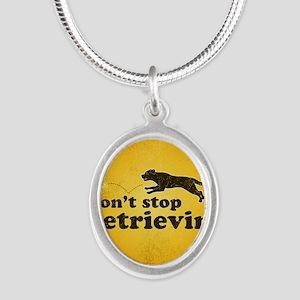 retrievin-distressedbgchocsq Silver Oval Necklace