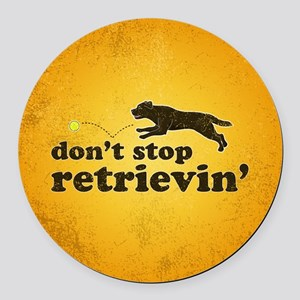 retrievin-distressedbgchocsq Round Car Magnet