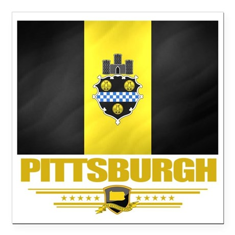 "Pittsurgh (Flag 10) Square Car Magnet 3"" x 3"""