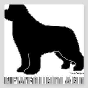 "BlackNewfoundland_newsty Square Car Magnet 3"" x 3"""