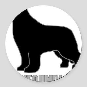 BlackNewfoundland_newstyle Round Car Magnet