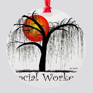 Social Worker Weeping Willow Round Ornament