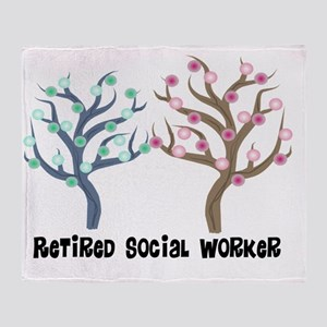 Retired Social Worker 2 trees Throw Blanket