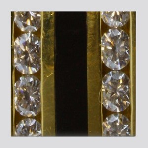 diamond_black_coral_gold_ring_stadium Tile Coaster