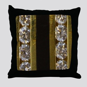 diamond_black_coral_gold_ring_stadium Throw Pillow