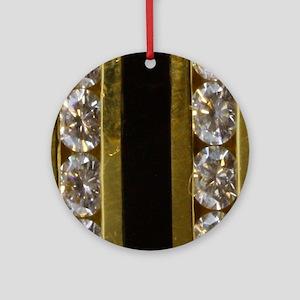 diamond_black_coral_gold_ring_stadi Round Ornament