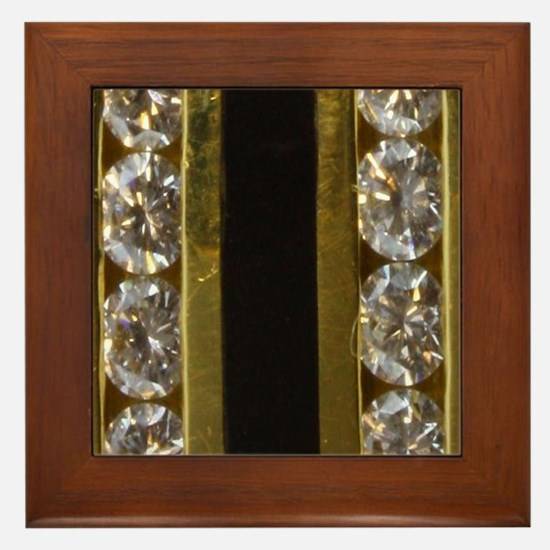 diamond_black_coral_gold_ring_stadium_ Framed Tile