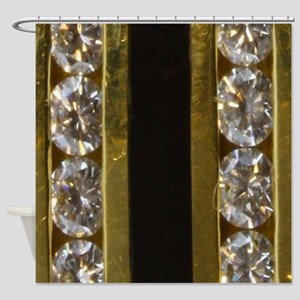 diamond_black_coral_gold_ring_stadi Shower Curtain