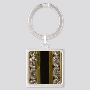 diamond_black_coral_gold_ring_stad Square Keychain