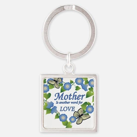 Mothers Love  Heart Square Keychain