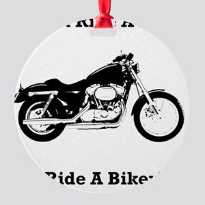 Ride Biker Black Round Ornament