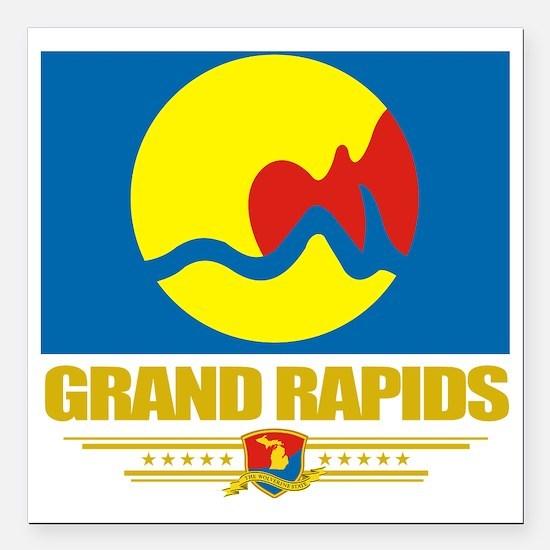 "Grand Rapids (Flag 10) Square Car Magnet 3"" x 3"""