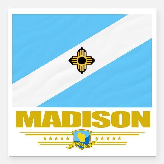 "Madison (Flag 10) Square Car Magnet 3"" x 3"""