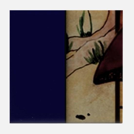 Blue Mural  Tile Coaster