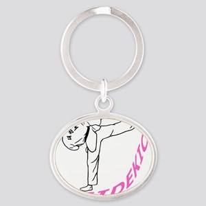 cafepress tkd girl pink Oval Keychain