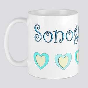 Sonographer Blue Hearts Mug