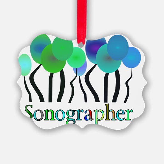 Sonographer Trees Blue Green Ornament