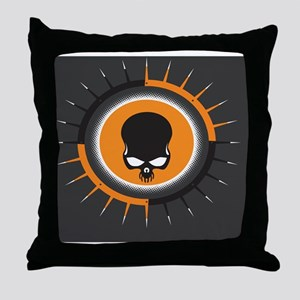 OrangeGraySpikeSkull  Throw Pillow