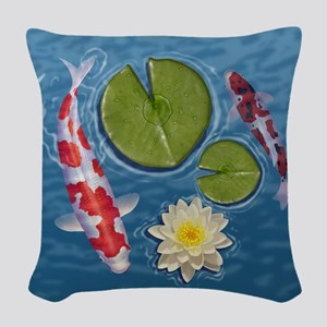 Koi Clock Woven Throw Pillow