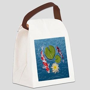 Koi Clock Canvas Lunch Bag