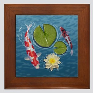 Koi Clock Framed Tile