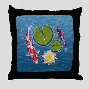 Koi Clock Throw Pillow