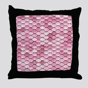 Pink Iridescent Shiny Glitter Mermaid Throw Pillow