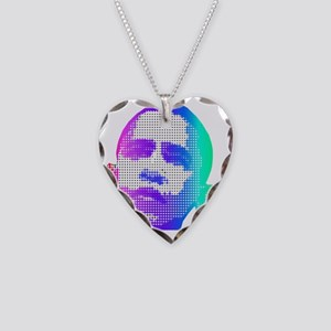 obama face diamonds colorful Necklace Heart Charm