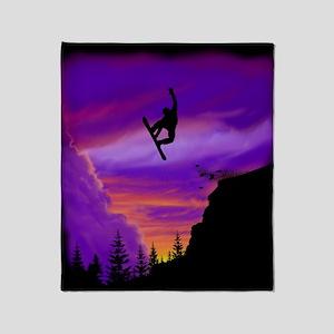 Snowboarder Off Cliff Throw Blanket